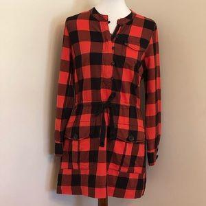 J. Crew | Red & Black Buffalo Plaid Shirt Dress